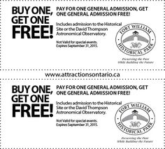 Fort William Historical Park - 2015 Summer Coupon Ontario Attractions, David Thompson, Astronomical Observatory, Fort William, Get One, Coupons, The Past, Canada, Park