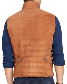 Polo Ralph Lauren Quilted Suede Down Vest $1,095.00 In supple suede, this 750-fill-power down vest by Polo Ralph Lauren is an elevated spin on a classic essential. Wear it on the weekend for brisk city strolls or chilly afternoons by the lake.
