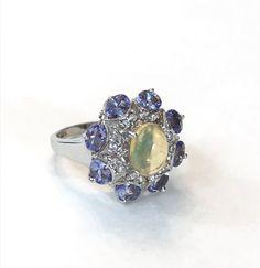 Opale Tanzanite argent massif Bague Cabochon ovale violet