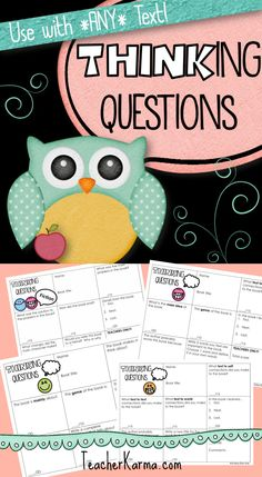 Thinking Questions for assessing reading comprehension and can be used with ANY text! Works for fiction, nonfiction, etc. Good interventions as well. TeacherKarma.com #comprehension #reading