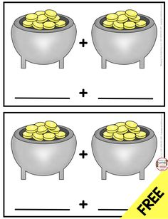 FREE Addition Pots of Gold - practice adding with this fun math center - Leprechaun and St. Patrick's Day freebie worksheets - Kindergarten Math and Literacy Centers for Saint Patty's Day Kindergarten Math Worksheets, Kindergarten Centers, Kindergarten Classroom, Kindergarten Addition, Free Teaching Resources, Teaching Math, Primary Resources, Math Teacher, Teacher Resources
