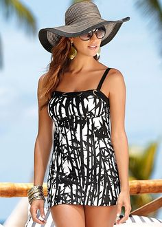LONG TANKINI TOP, HIGH WAIST MODERATE BOTTOM, FLOPPY STRAW HAT, KNITTED STRIPE TUNIC