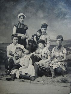 The same ladies in their bathing costumes, c. 1880s.
