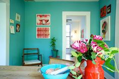 thinking about painting the wall behind my shelves some blue-green color to make my plates pop! since I love blue + white ceramics-- think they will sing