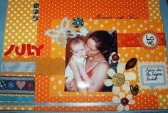 """Scrap com diversos papeis com motivos """"dots"""" em tons de laranja e fitas de tecido...etc..."""