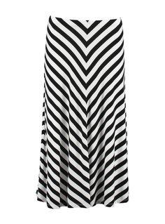 Mix Stripe A Line Midi Skirt