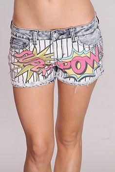 comic print shorts