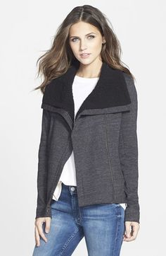 Free shipping and returns on Splendid 'Powell' Moto Jacket at Nordstrom.com. Cozy fleece trims the wide lapels of a lightweight jacket styled with an asymmetrical front zipper and a gently cropped hemline.