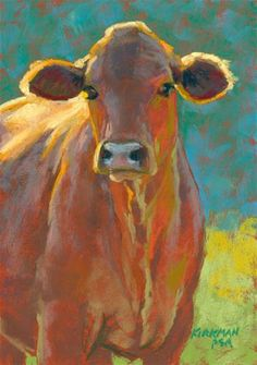 """Daily Paintworks - """"Fiesta"""" - Original Fine Art for Sale - © Rita Kirkman Cow Painting, Painting & Drawing, Watercolor Paintings, Pastel Paintings, Cow Pictures, Farm Art, Cow Art, Animal Paintings, Paintings Of Cows"""