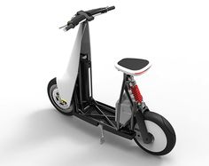 T-Scooter is an electric moped that interacts with a smartphone to enhance the rider's awareness of road conditions