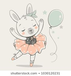 Helga Gavrilova's Portfolio on Shutterstock Cute dancing bunny ballerina cartoon hand drawn vector illustration. Can be used for t-shirt print, kids wear fashion design, baby shower invitation card. Ballerina Illustration, Cute Illustration, Baby Shower Invitation Cards, Baby Shower Cards, Cute Baby Bunnies, Bunny, Ballerina Cartoon, Ballerina Dancing, Baby Ballerina