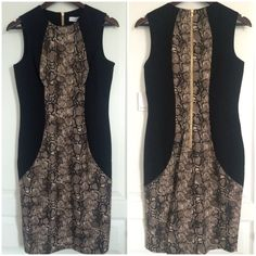 Stylish Calvin Klein Sheath Snake Print Mid Dress This is a New with Tags Calvin Klein Sheath Dress with snake print inset. Super stylish and modern midi dress. Sleeveless, scope neck, just enough stretch for comfort. Perfect for a professional look or a more classy look with a little bit of edge. You can't never go wrong with this dress cut. Back zipper still has plastic cover. Calvin Klein Dresses Midi