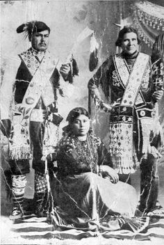 Potawatomi. Photo of Kas-o-be-tuck, Angeline, and Wah-we-ack-much. - Attached To: Margaret (Marguerite) Laframboise (1839-1894) - No date - Photographer unidentified.  (B&W copy)