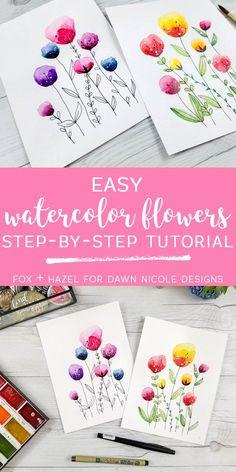 Easy Watercolor Flowers Step by Step Tutorial | Dawn Nicole Designs®️️
