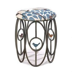 """NEW """"FREE AS A BIRD"""" STOOL w/ linen patterned fabric"""