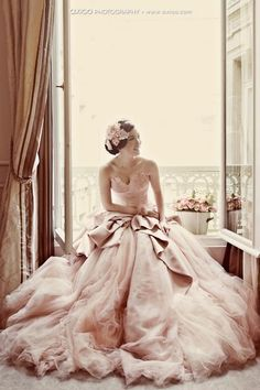 image of Pale Pink Strapless Deep Sweetheart Neckline and Tulle Ball Gown Wedding Dress ♥ Romantic Wedding Photography by Axioo