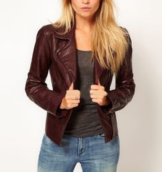 New Women Leather Jacket Genuine Lambskin Designer Biker Ladies Slim #0115