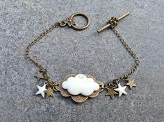bracelet nuages bronze et blanc