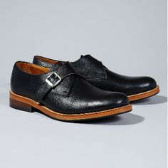 Selected  Men's Black Brook Monk Shoes: Lace-up brogues crafted from smooth leather with a refined shape, they have a distinctly modern edge. Contrast sole, two tone burgundy/black finish.