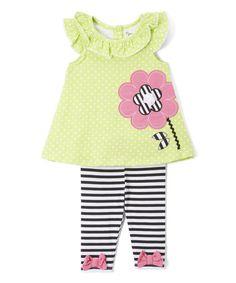 Look at this #zulilyfind! Green Stripe Flower Tunic & Leggings - Infant, Toddler & Girls #zulilyfinds