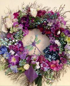 Spring Wreath Dragonfly Wreath Summer by BlessMyNestShop on Etsy