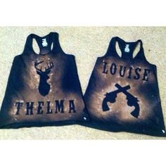 Thelma and Louise Tank Set ($35) ❤ liked on Polyvore featuring tops, grey, women's clothing, gray tank top, gray shirt, unisex tank tops, grey shirt and grey tank