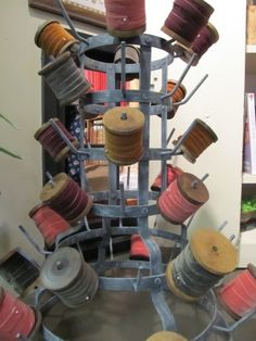 Lovely velvet ribbon on wood spools (must find this type of display piece) Sewing Room Storage, Craft Room Storage, Sewing Rooms, Craft Rooms, Room Organization, Ribbon Display, Craft Studios, Coin Couture, Wood Spool