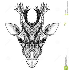 Psychedelic Giraffe Head Tattoo. Stock Vector - Image: 57744590