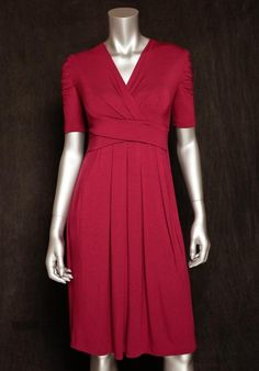 Modest red dress with empire waist and elbow sleeves