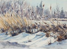A modern american painting by listed female artist Jeanette Blair.    Blair was a watercolorist devoted to painting fresh unspoiled landscapes. Intimate not just with her medium but with her subject, it is evident that she appreciated and understood the nature that surrounded her.. Many of her landscapes are painted on site in the environs near her home in Holland, NY. With a broad treatment and ample strokes Blair's work presents a balance between painterly spontaneity and impressionistic…