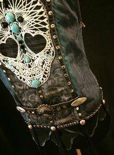 Hand Painted and Embellished Denim Vest by jamiebreweroriginals on Etsy