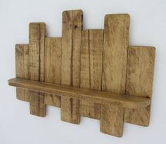 66cm Reclaimed pallet wood floating shelf / led candle holder