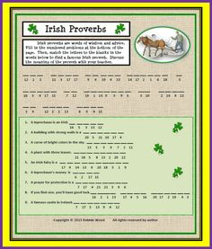 "Irish Proverb Cryptogram ""You'll never plough a field by turning it over in your mind. Creative Teaching, Teaching Ideas, English Language, Language Arts, Irish Proverbs, Esl Lessons, Early Education, Your Teacher, Idioms"