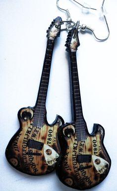 Ouija board guitar earrings by nikajon