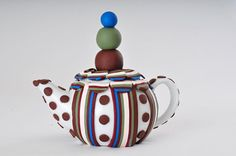 Polymer Clay Teapot 3D Art Deco Abstract Modern Blue by ClaydeLys1, $38.75