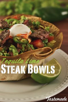 This Tequila Lime Steak Tostada Bowls is zesty and ready to party in your mouth.