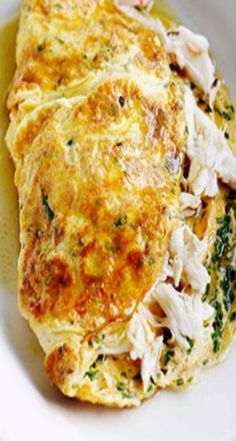 Australian Gourmet Traveller fast French recipe for crab and herb omelette. Egg Recipes, Seafood Recipes, Cooking Recipes, Healthy Recipes, Recipies, Breakfast Time, Breakfast Recipes, Breakfast Buffet, Gourmet