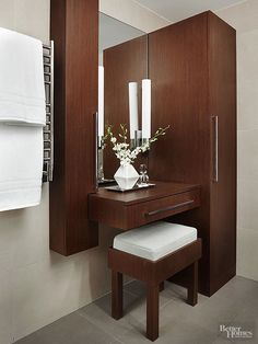 Vanities with sleek lines and clean design complement a contemporary-style bathroom. See how to incorporate these creative ideas for a modern bathroom vanity into your space.