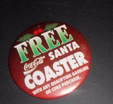 "FREE COCA COLA SANTA COASTER Pin Button 3"" Diameter [B57]"