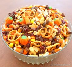 Autumn Snack Mix is perfect for your Halloween bash. Just don't eat it all before the party starts! (from Growing in Grace)