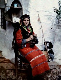 A beautiful woman from Greece knitting. Where does your knitting heritage come from?