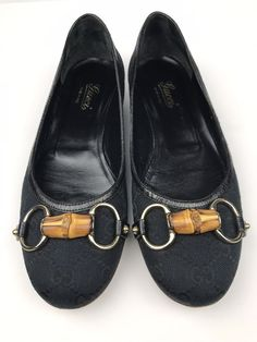 e142cc6dd56f Gucci GG Horsebit Ballet Flats Canvas Leather Black Women US Size 6.5  (RP  395