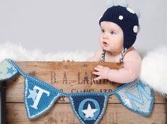 Blue stars bunting handmade in crochet for Tom