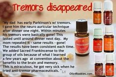Ease Parkinson's tremors. Sacred Frankincense is preferred. Using a 10ml rollerball, add: 15 drops Frankincense 15 drops Vetiver 15 drops Helichrysum Top off with a carrier oil and shake well.