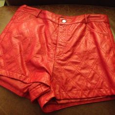 Red pleather shorts Red pleather shorts Forever 21 Shorts