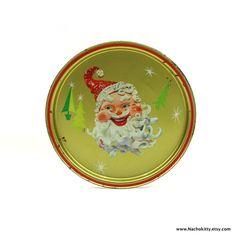 1950s Santa Claus Metal Tray Vintage Mod Christmas