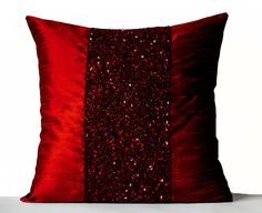 Red pillow covers Red Silk Pillows Red Metallic by AmoreBeaute