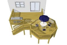 This spacious 2 level deck features a sunken x octagon perfect for entertaining. There is a large x deck space between the stairs and the house that could function as a nice open grilling area. Also available in various sizes! Building Design Plan, Deck Building Plans, Free Deck Plans, Gazebo, Pergola, Laying Decking, Deck Builders, New Deck, Decks And Porches