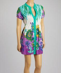 Love this Green & Purple Floral Button-Up Dress - Women on #zulily! #zulilyfinds