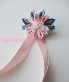 Sylveon Inspired Kanzashi Flower, Handmade Japanese Fabric Flower Hair Clip, Pink, White, Light Blue, Navy, Hair Jewelry, Pokemon Inspired by KissinfireflyCrafts on Etsy